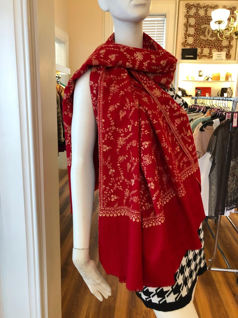 Red Wonderful Cashmere Hand Embroidered and Signed Shawl 80