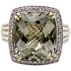 Wonderful Charles Krypell Green Quartz Diamond 14 Karat Sterling Silver Ring
