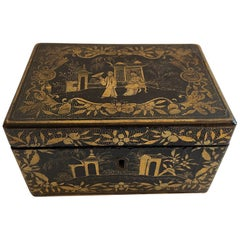 Wonderful Chinoiserie Black Lacquered Hand Painted Jewelry Casket Keepsake Box