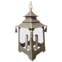 Wonderful Chinoiserie Pagoda Soft Grey and White Enameled Glass Lantern Fixture