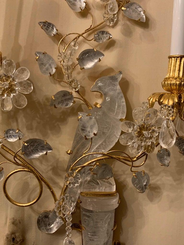 Italian Wonderful Chinoiserie Rock Crystal Two-Arm Gilt Bird Parrot Flower Sconces, Pair For Sale