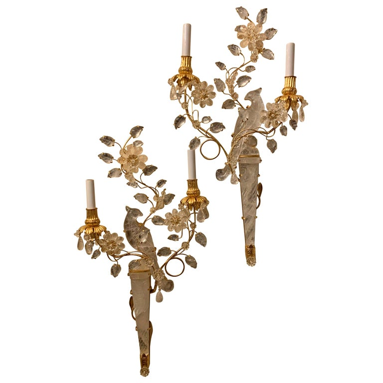 Wonderful Chinoiserie Rock Crystal Two-Arm Gilt Bird Parrot Flower Sconces, Pair For Sale
