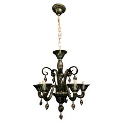 Wonderful Cobalt Blue Murano Polished Nickel Venetian Blown Glass Chandelier