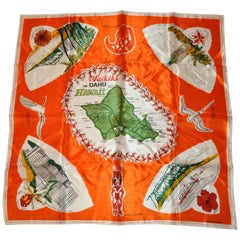 Wonderful Colorful Tangerine Scenes of Waikiki On Oahu Hawaii Scarf