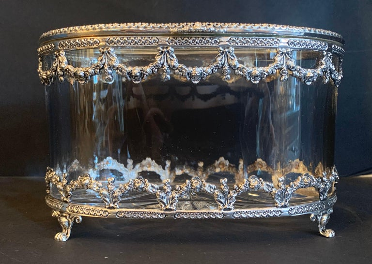 Belle Époque Wonderful Cut Crystal Glass Sterling Swag Oval Casket Vanity Dresser Jewelry Box For Sale