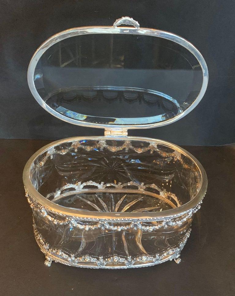 Portuguese Wonderful Cut Crystal Glass Sterling Swag Oval Casket Vanity Dresser Jewelry Box For Sale