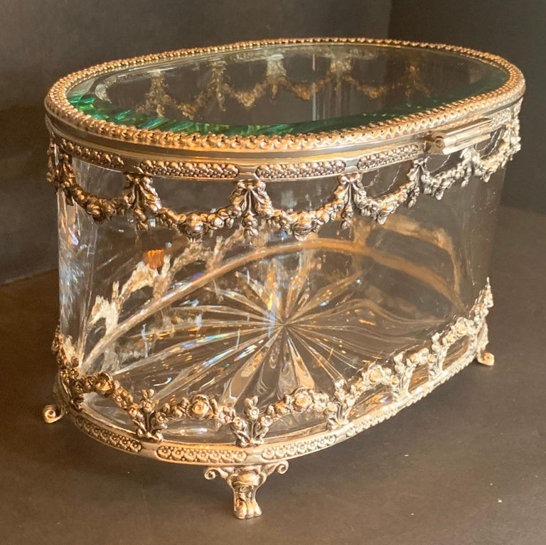 20th Century Wonderful Cut Crystal Glass Sterling Swag Oval Casket Vanity Dresser Jewelry Box For Sale
