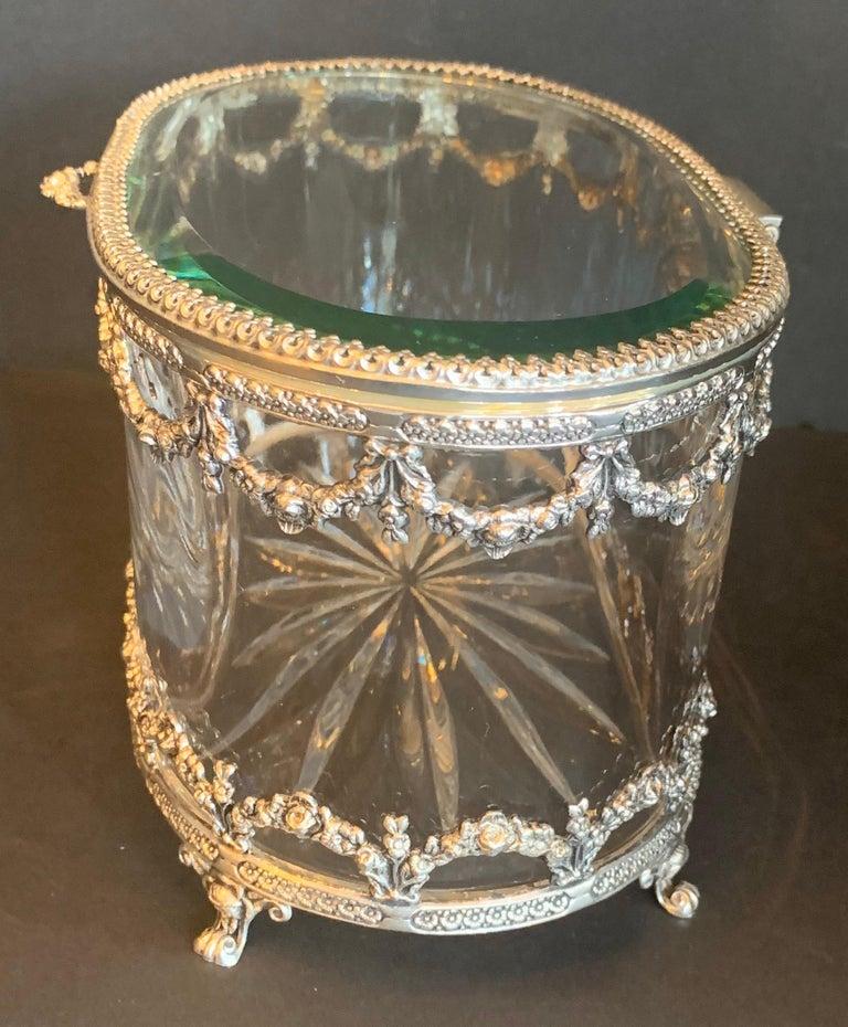Wonderful Cut Crystal Glass Sterling Swag Oval Casket Vanity Dresser Jewelry Box For Sale 1