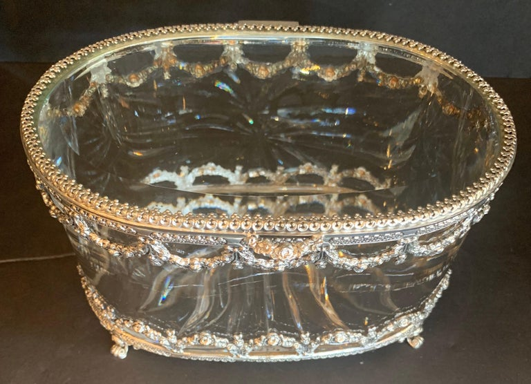 Wonderful Cut Crystal Glass Sterling Swag Oval Casket Vanity Dresser Jewelry Box For Sale 2