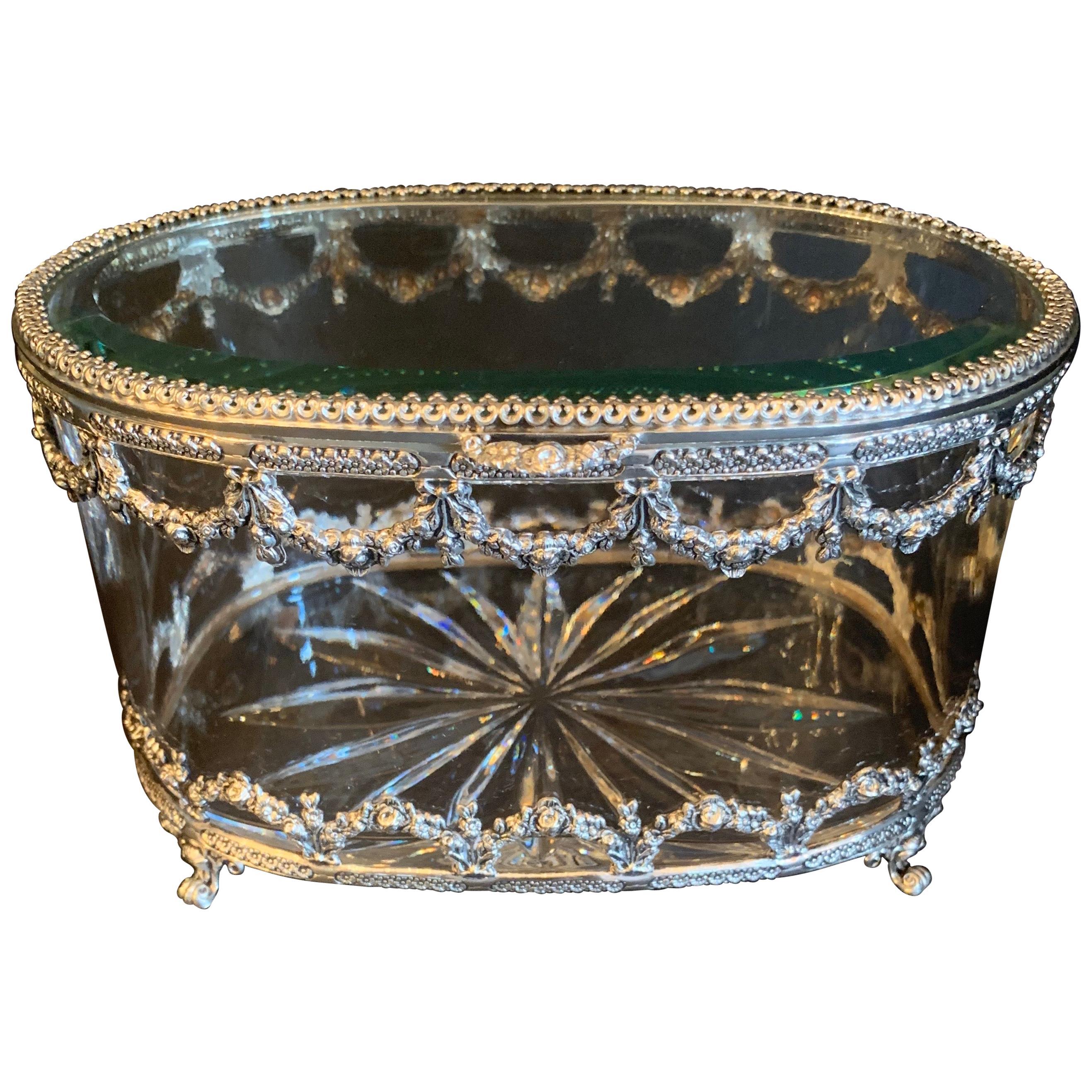 Wonderful Cut Crystal Glass Sterling Swag Oval Casket Vanity Dresser Jewelry Box