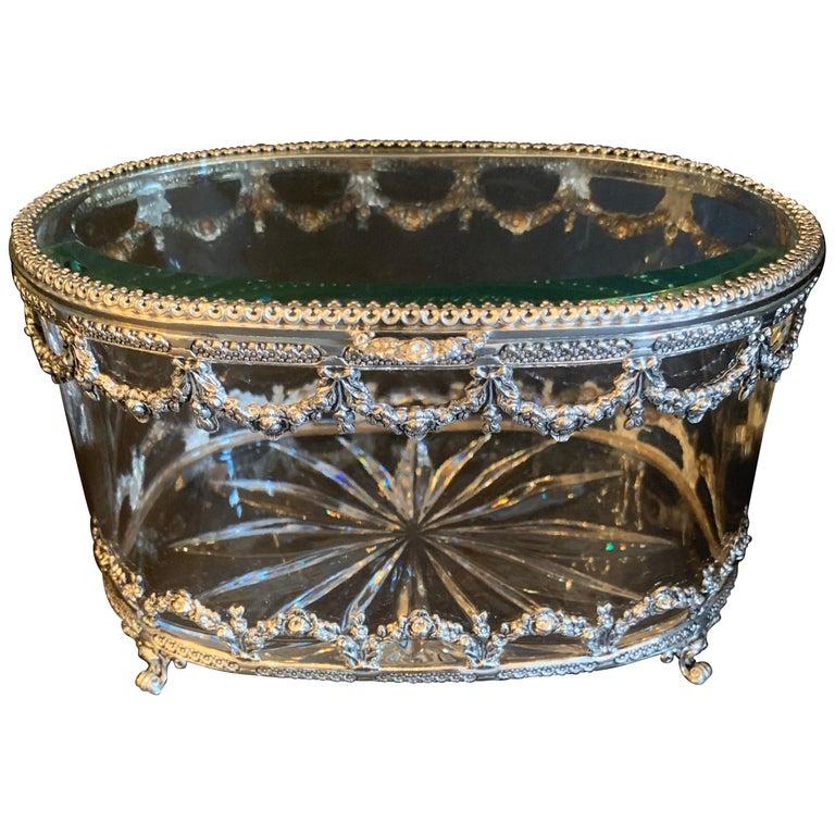 Wonderful Cut Crystal Glass Sterling Swag Oval Casket Vanity Dresser Jewelry Box For Sale