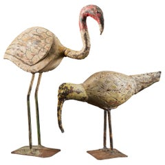 Wonderful Decorative Weather-Aged Couple of Wooden Waterbirds