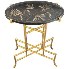 Wonderful Dessin Fournir Chinoiserie Black Laqured Gold Gilt Bamboo Side Table