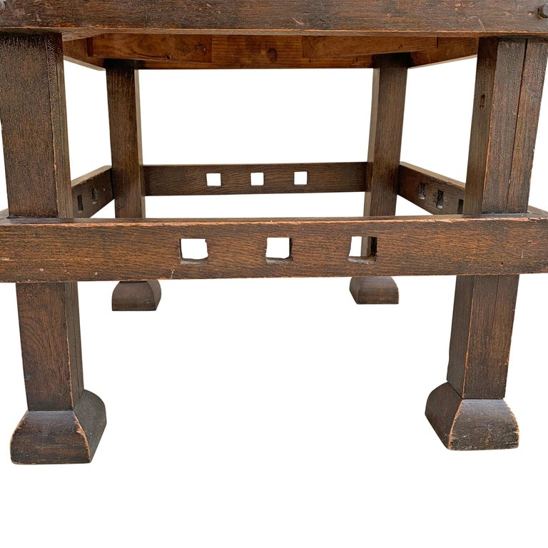 Wonderful Early 20th Century English Arts & Crafts Leather Top Stool For Sale 6