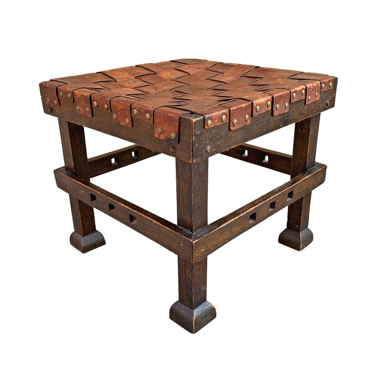 Arts and Crafts Wonderful Early 20th Century English Arts & Crafts Leather Top Stool For Sale