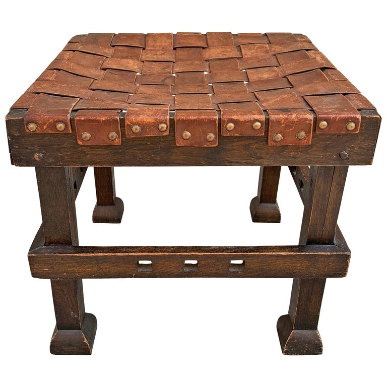 Wonderful Early 20th Century English Arts & Crafts Leather Top Stool For Sale