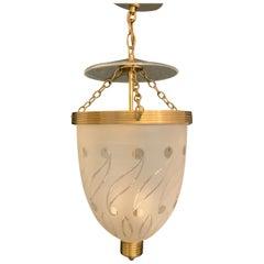 Wonderful English Etched Paisley Glass Bell Jar Lantern Pendent Brass Fixture