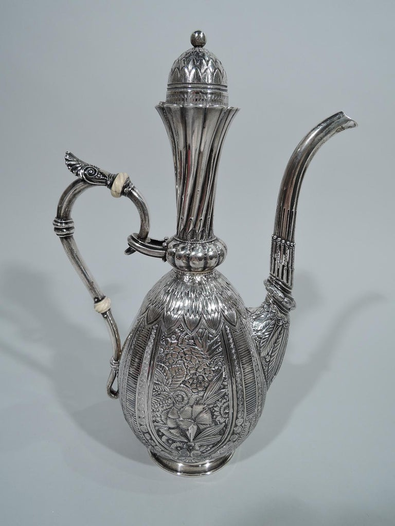 Aesthetic Movement Wonderful Exotic Sterling Silver Turkish Coffeepot by Gorham For Sale