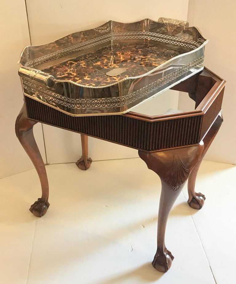 Neoclassical Wonderful Faux Tortoiseshell Silver Plated Gallery Tray English Mahogany Table For Sale
