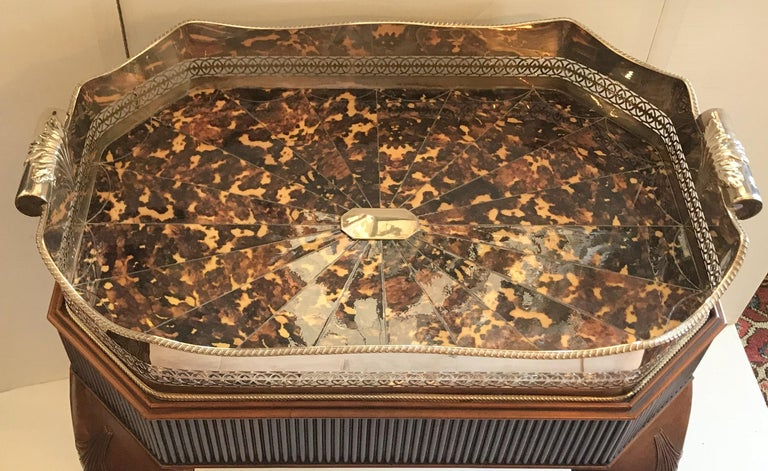 Wonderful Faux Tortoiseshell Silver Plated Gallery Tray English Mahogany Table In Good Condition For Sale In Roslyn, NY