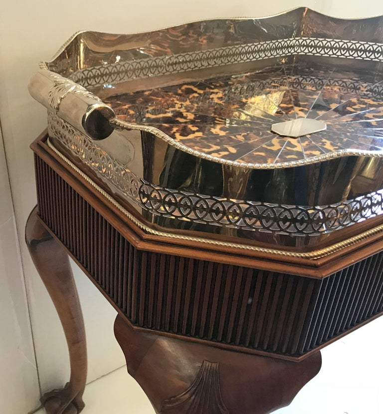 Wonderful Faux Tortoiseshell Silver Plated Gallery Tray English Mahogany Table For Sale 1