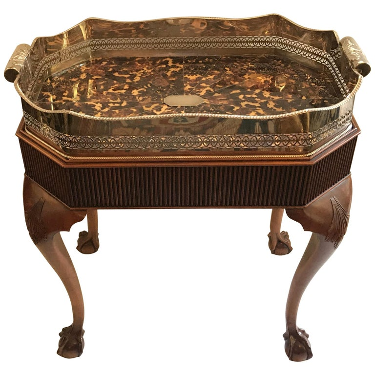 Wonderful Faux Tortoiseshell Silver Plated Gallery Tray English Mahogany Table For Sale