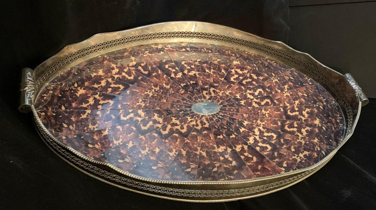 Wonderful Faux Tortoiseshell Silver Plated Oval Pierced Handle Gallery Big Tray For Sale 1