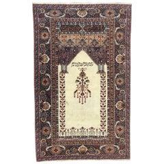 Wonderful Fine Vintage Turkish Panderma Prayer Rug