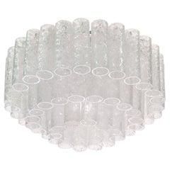 1960 Doria Large Modernist Flush Mount Ceiling Light Murano Glass Tubes