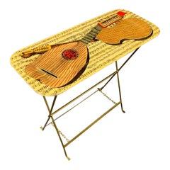 "Wonderful Fornasetti ""Strumenti Musicali"" Tray with Original Brass Stand"