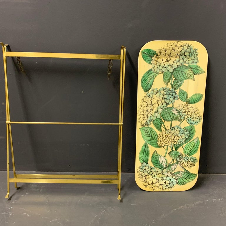 Wonderful Fornasetti Tray with Original Brass Stand For Sale 5