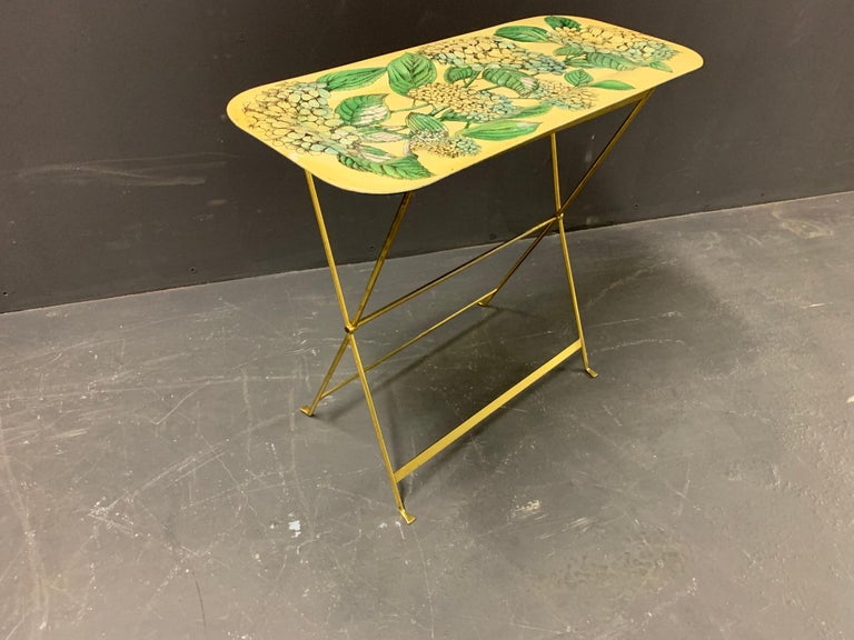 Wonderful Fornasetti Tray with Original Brass Stand For Sale 11