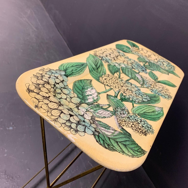 Mid-20th Century Wonderful Fornasetti Tray with Original Brass Stand For Sale