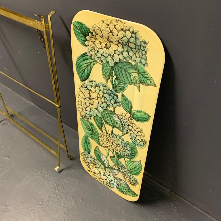 Wonderful Fornasetti Tray with Original Brass Stand For Sale 1