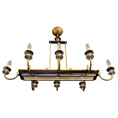 Wonderful French Art Deco Mid Century Bronze Patina Glass Chandelier Fixture