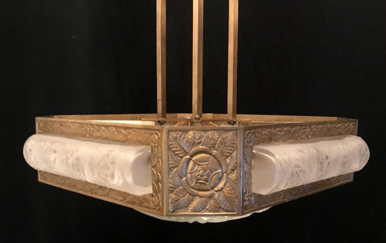 Wonderful French Art Deco Signed Degué Bronze Frosted Glass Square Chandelier For Sale 5
