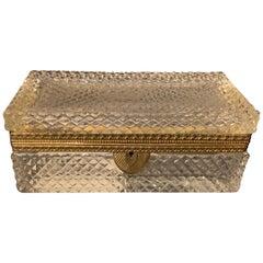 Wonderful French Baccarat Bronze Cut Crystal Casket Vanity Dresser Jewelry Box