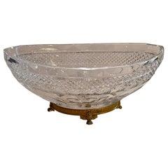 Wonderful French Baccarat Bronze Paw Foot Diamond Cut Crystal Oval Centerpiece