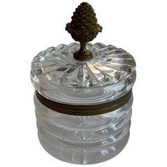 Wonderful French Baccarat Crystal Bronze Ormolu Mounted Round Casket Jewelry Box