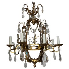 Wonderful French Baguès Beaded Lattice Rock Crystal Gold Gilt Pagoda Chandelier