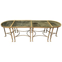 Wonderful French Bagues Gilt Bronze Paw Mirrored Four-Part Cocktail Coffee Table