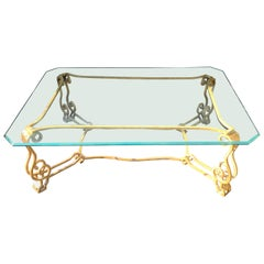 Wonderful French Bagues Gilt Iron Scalloped Ogee Glass Coffee Cocktail Table