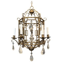 Wonderful French Baguès Pagoda Form Rock Crystal Chandelier Lantern Fixture
