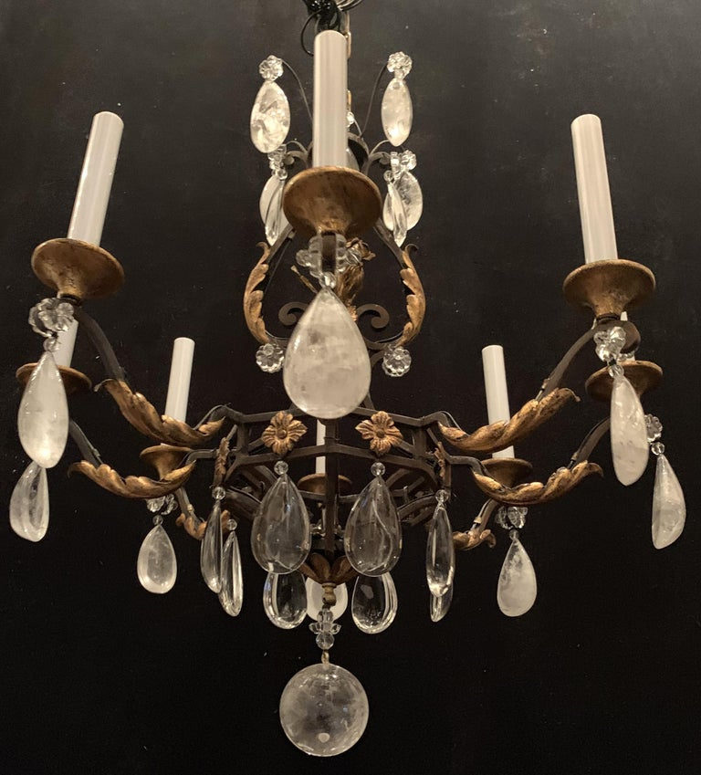 Wonderful French Bagues Rock Crystal Gilt Iron Flower Leaf Bouquet Chandelier In Good Condition For Sale In Roslyn, NY