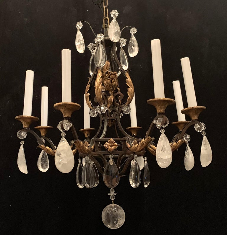 20th Century Wonderful French Bagues Rock Crystal Gilt Iron Flower Leaf Bouquet Chandelier For Sale