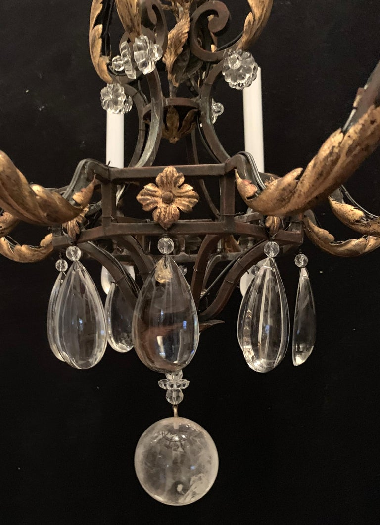Wrought Iron Wonderful French Bagues Rock Crystal Gilt Iron Flower Leaf Bouquet Chandelier For Sale