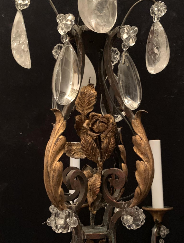 Wonderful French Bagues Rock Crystal Gilt Iron Flower Leaf Bouquet Chandelier For Sale 1