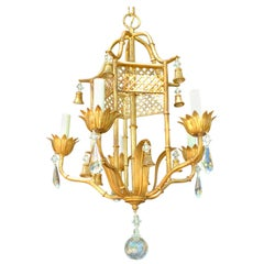 Wonderful French Baguès Tole Crystal Bead Flower Pagoda Chinoiserie Chandelier
