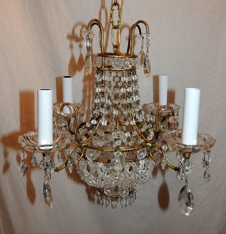 Wonderful french beaded basket petite chandelier four light gold a wonderful french beaded basket form petite chandelier with four candelabra lights completely rewired and ready aloadofball Images