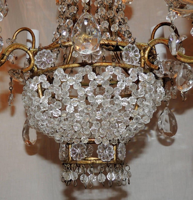 Wonderful french beaded basket petite chandelier four light gold belle poque wonderful french beaded basket petite chandelier four light gold gilt fixture for sale aloadofball Images